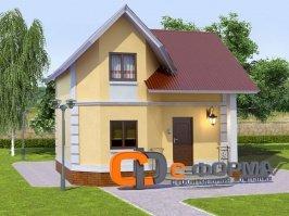 Модель П4. Дома  из пеноблоков, планировка, домов  (проект дома 7х7.2 м)
